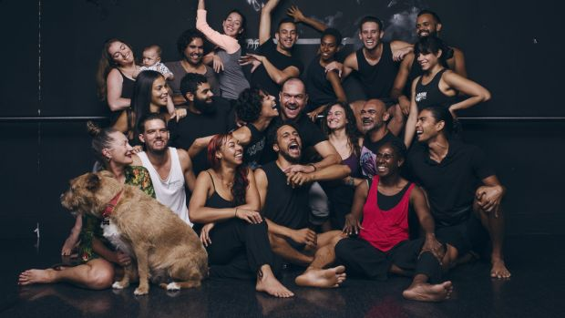 Stephen Page, centre, celebrates his 25th year as artistic director of the Bangarra Dance Theatre.
