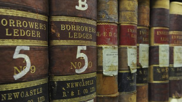 Ledgers from the 1800s at the ANU archives.