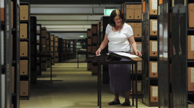 ANU archivist, Maggie Shapley, inside the vast archive building.