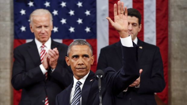 Barack Obama  at the conclusion of his State of the Union address to a joint session of Congress.