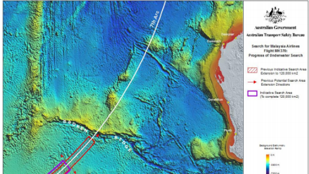 The purple area marks the remaining search location for MH370.
