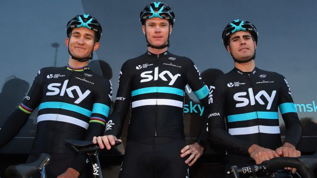 Team Sky riders (l to r) Michal Kwiatkowski of Poland, Chris Froome of Great Britain and Mikel Landa of Spain pose for a ...