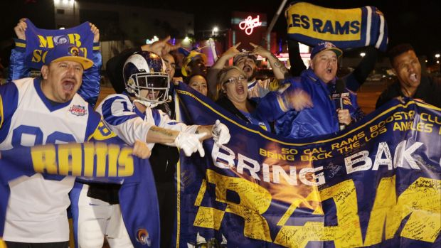 Winners ... NFL fans cheer for the return of the Rams to Los Angeles on the site of the old Hollywood Park horse-racing ...