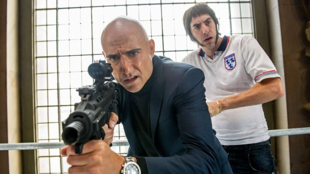Mark Strong (left) and Sacha Baron Cohen in <i>The Brothers Grimsby</i>.