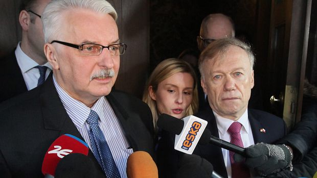 Polish Foreign Minister Witold Waszczykowski, left, and German Ambassador Rolf Nikel. Mr Waszczykowski protested what he ...