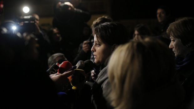 French Education Minister Najat Vallaud-Belkacem at the Saint-Exupery school in Lyon, central France, after a deadly ...