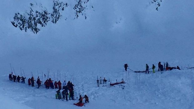The site of an avalanche that hit a group of high school students  in the French Alps on Wednesday