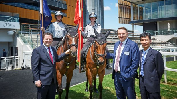 Building a new partnership: NSW Minister for Sport Stuart Ayres, ATC chief executive Darren Pearce and  chairman of the ...