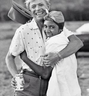 Aboriginal dancer Joelene King with David Bowie while filming Let's Dance.