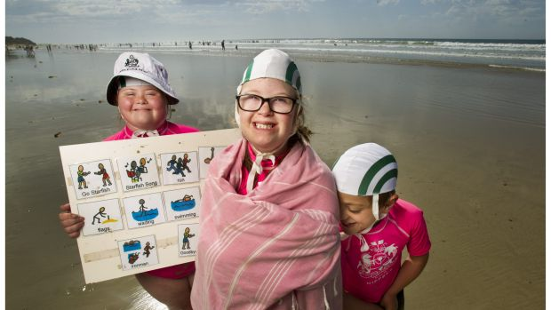 Georgia Brown, 12, Henrietta Graham, 11, and Jimmy Jones, 8, from the Starfish Nippers program at the Anglesea Life ...