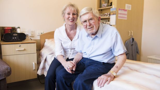 Alison Ridge with her 87-year-old father Barry Ridge in aged care.