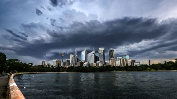 A storm front moves over the Sydney skyline.
