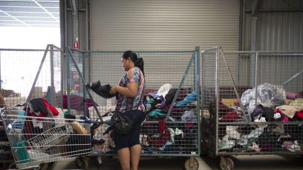 The Green Shed at Mitchell on Thursday. It gives away free clothes at its Mitchell and Mugga Lane outlets because it ...
