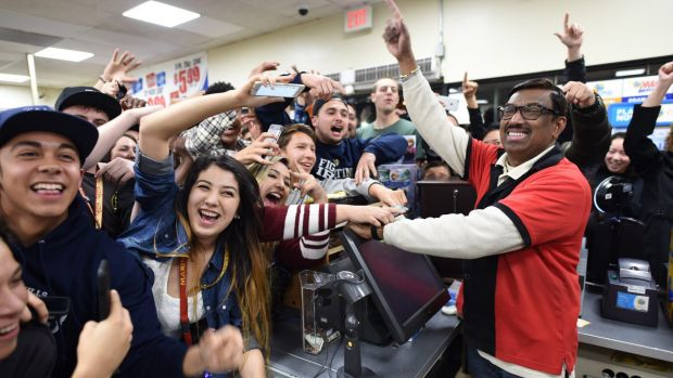 Celebrations at a California convenience store, where one of the winning tickets was sold.