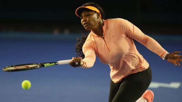 World No.1 Serena Williams warms up for next week's Open.