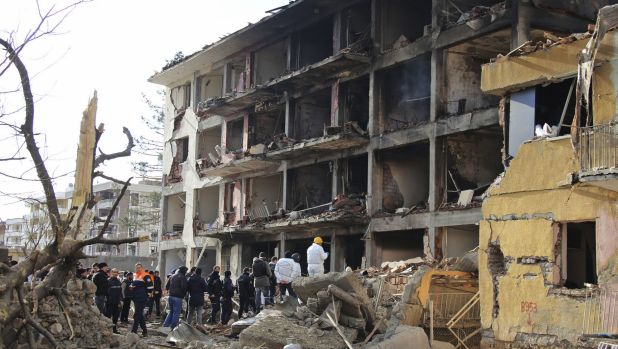 Kurdish rebels detonated a car bomb at a police station in southeastern Turkey.