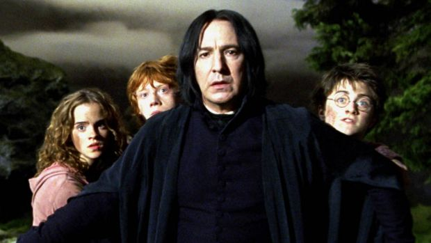 Rickman and Watson in in <i>Harry Potter and the Prisoner of Azkaban</i> (2004).