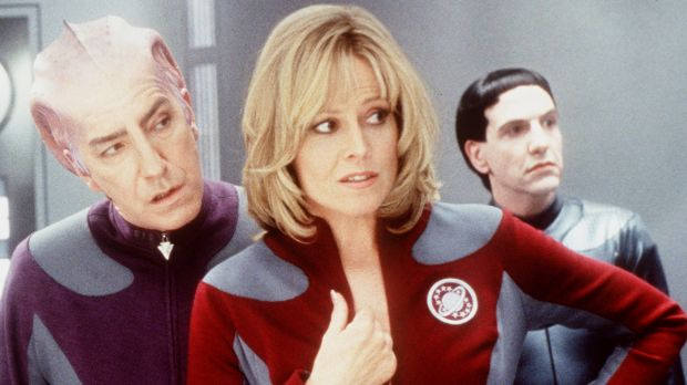 Sigourney Weaver, centre, and Alan Rickman, left, in Galaxy Quest (1999).