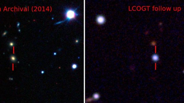 Pseudo-colour images showing the host galaxy before the explosion of ASASSN-15lh (Left), and the supernova (Right).