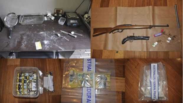 Drugs, cash and firearms seized from a home in Wanniassa.