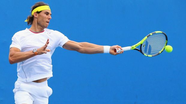 Rafael Nadal has a practice session at Melbourne Park ahead of the Australian Open.