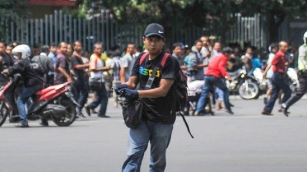 One of the suspected terrorists during the fatal attack in Jakarta on in January.