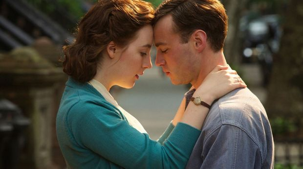 Saoirse Ronan, left and Emory Cohen in the multi-nominated Brooklyn.