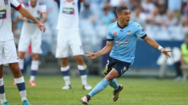 You beauty: Ali Abbas celebrates scoring against the Newcastle Jets last Saturday.