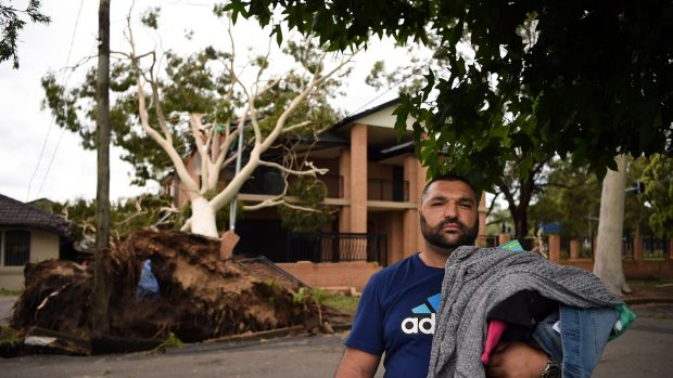 Moustafa Noureddine, his wife and five children were in their Ingram Avenue home in Bankstown when a big gum fell on the ...