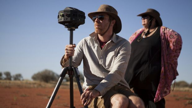Cinematographer Patrick Meegan on location for the short film <i>Collisions</i>.