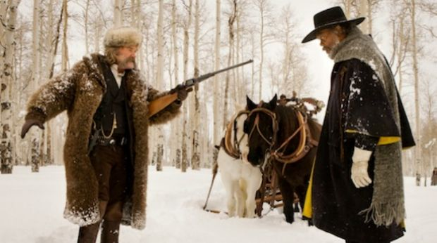 Fun in the snow: Kurt Russell and Samuel L Jackson face off in Quentin Tarantino's <i>The Hateful Eight</i>.