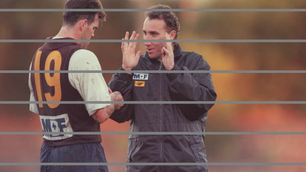 Ken Judge was known for his passion - here he's passing on some pointers to Jason Dunstall.