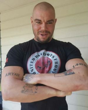 Charged: Nathan Davidson, 32, was allegedly found with guns, drugs, and cash during a raid in Wanniassa.