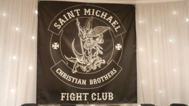 The Saint Michael Christian Brothers Fight Club banner.