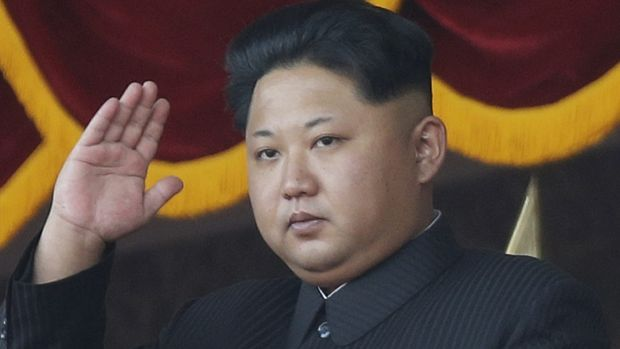 North Korean leader Kim Jong-un gestures as he watches a military parade in Pyongyang, North Korea in January.