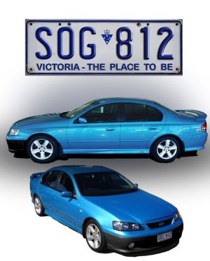 An image of blue 2003 Ford Falcon XR6 sedan similar to the one Cayleb was last seen in.