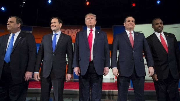 Republican presidential candidates, from left, New Jersey Governor Chris Christie, Senator Marco Rubio, Donald Trump, ...