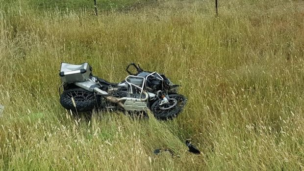 The damaged motorcycle beside the road after the accident that happened between Bombala and Cooma on Friday.