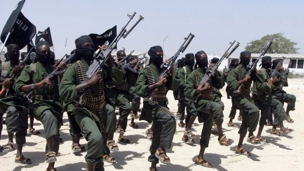 Al-Shabab fighters perform outside of Mogadishu in 2011.