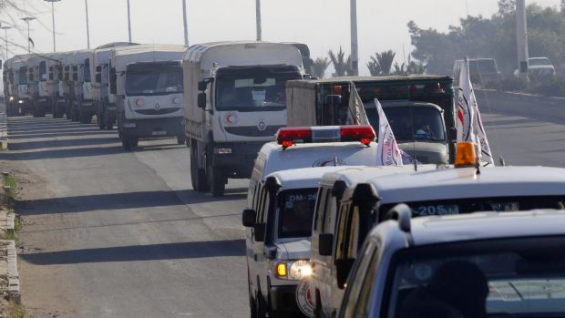A convoy of trucks loaded with humanitarian supplies are seen heading to Madaya on Thursday.