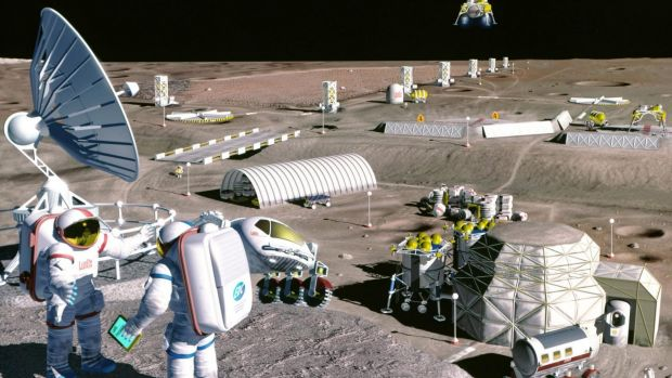 An artists' impression of a moon base.