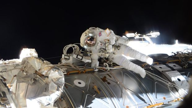 Tim Peake takes part in his  spacewalk to replace a failed power regulator and install cabling for the International ...