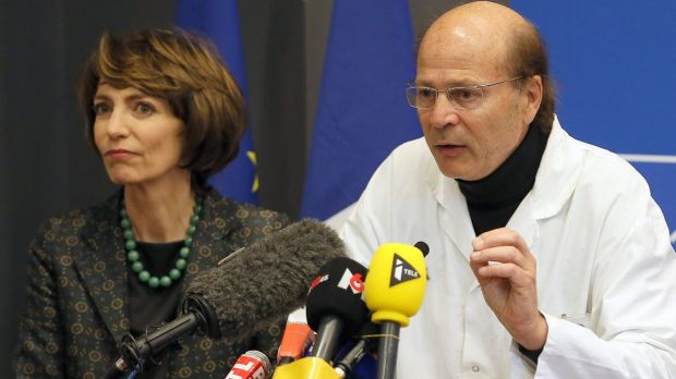 French Health Minister Marisol Touraine, left, and Professor Gilles Edan, the chief neuroscientist at Rennes Hospital, ...