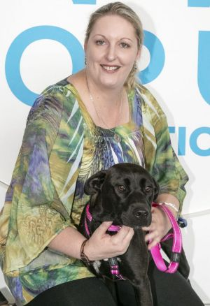 Shelly Curtis with her new dog Milly.