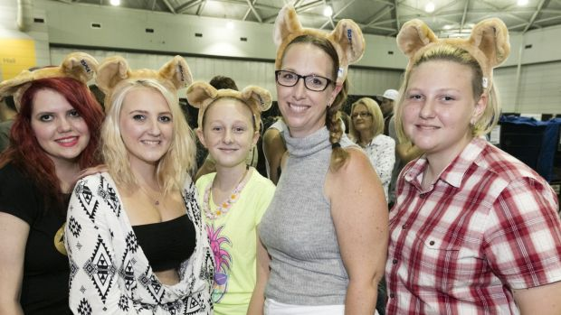 From left, Brittany Nichols, Caitlin Brown, Zara Brown, Ann-Marie Brown and Alexis Brown at the RSPCA pop-up animal ...