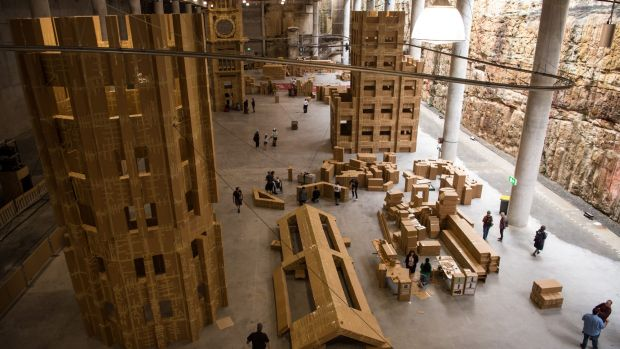 The cardboard city is being built in the Cutaway as part of the Sydney Festival.