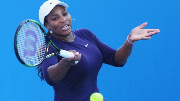 Serena William practises ahead of the Australian Open.