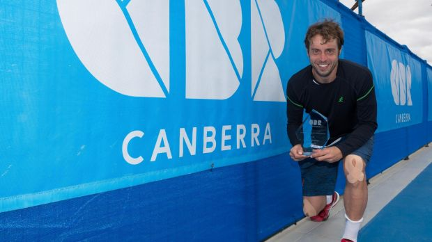 Paolo Lorenzi celebrates his victory in the inaugural $75,000 Canberra ATP Challenger.
