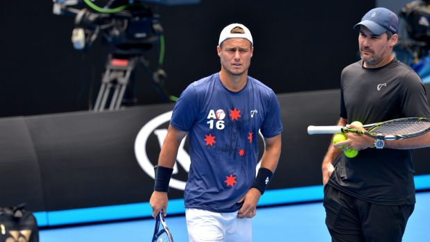 Preparing for his swansong: Lleyton Hewitt with  Roger Federer at a practice session for the Australian Open.