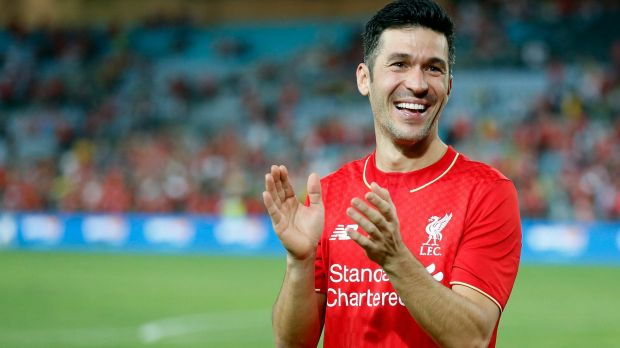 Out of retirement: Luis Garcia celebrates after turning out for the Liverpool FC Legends clash with the Australian ...